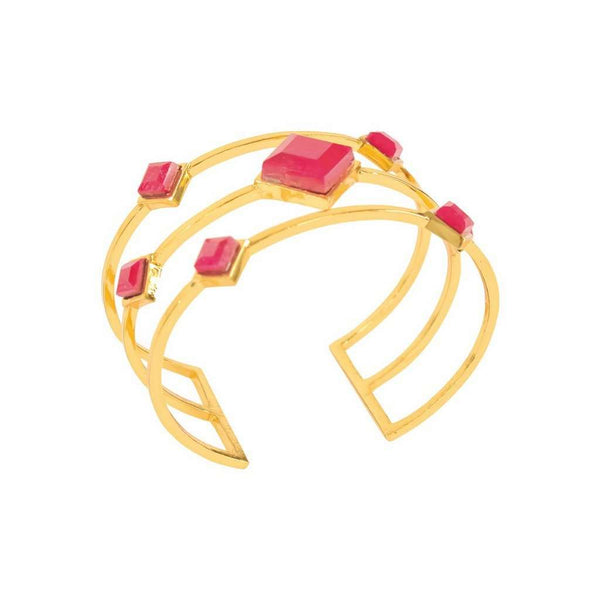 Red Ruby Triple Cuff Bracelet
