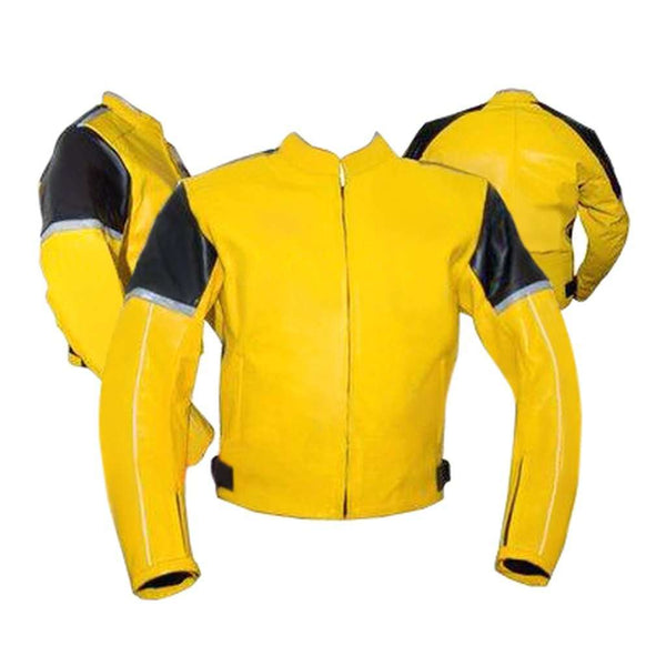 Yellow Black Biker Leather Jacket