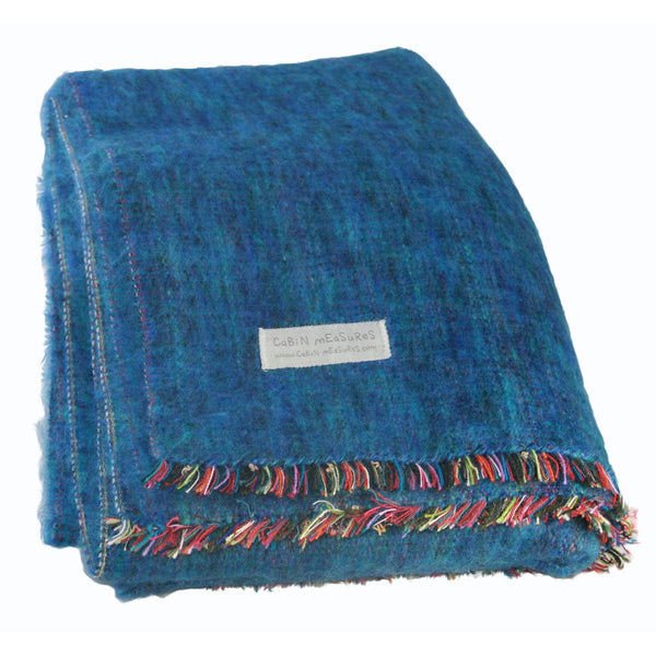 100% Alpaca Travel Blanket in Ocean