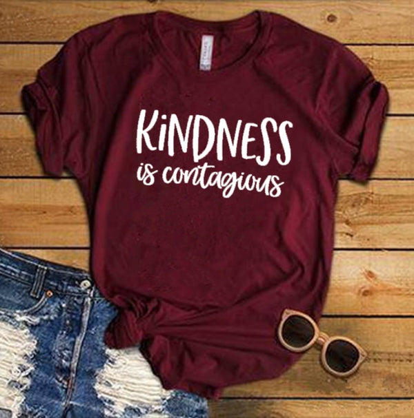 Kindness Is Contagious Shirt Anti Bullying Shirt Inspirational Shirt Teacher Shirt Kindness Sayings Letters Printed Women O-Neck