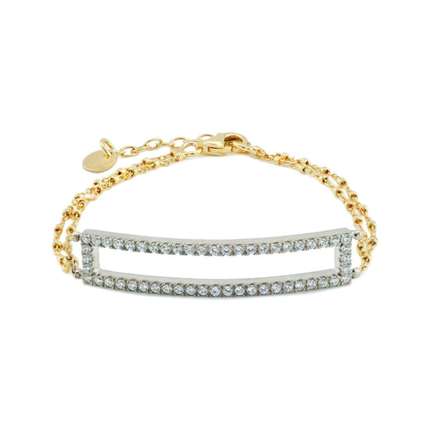 "Open Cz Bar Double Beaded Chain Bracelet in Two Tone Sterling Silver, 6.5"" + 1.5"" Extension"