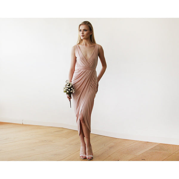 Pink Blush Wrap Tulip Dress with V Neckline 1154 - www.ettuet.com