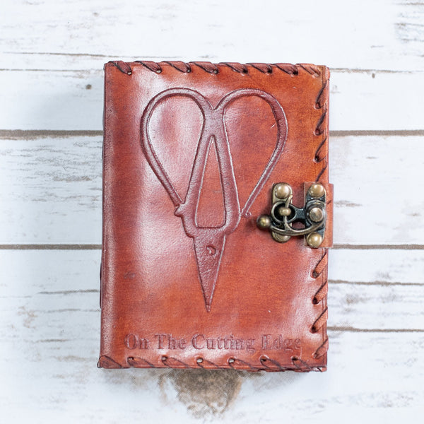 On The Cutting Edge Scissors Mini Leather Journal