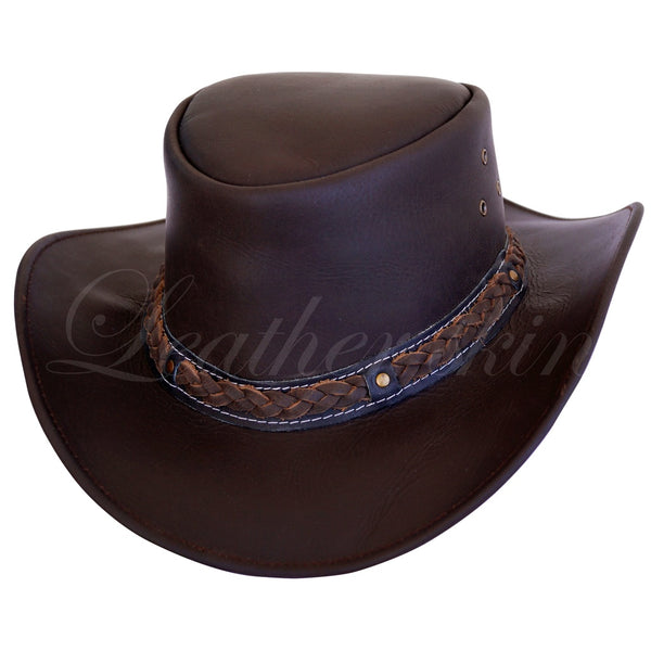 Men Handmade Brown Leather Hat