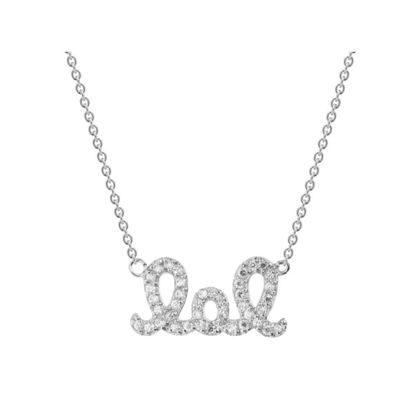"Platinum Plated Sterling Silver Laugh Out Loud ""LOL"" Cubic Zirconia Pendant Necklace, 16"""