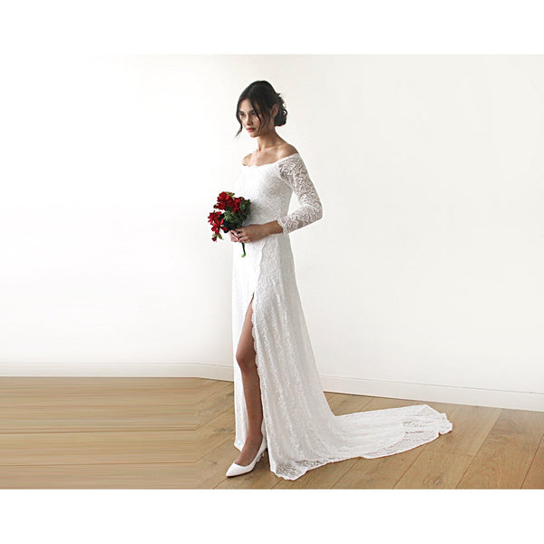 Ivory Wedding Dress with a Slit & Train Off-The-Shoulder Floral Lace Long Sleeve train Wedding Dresses 1179