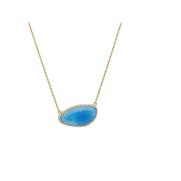 "Blue Jade Stone Slice Golden Necklace in Sterling Silver, 16"" Inches"