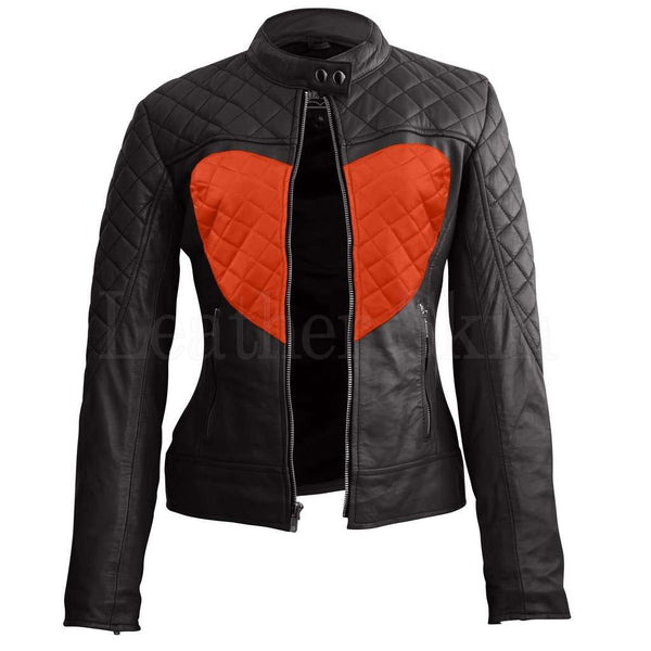 Women Black Orange Heart Leather Jacket
