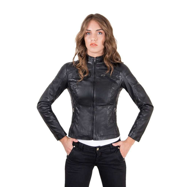 Women's quilted Leather Jacket biker black color Geny