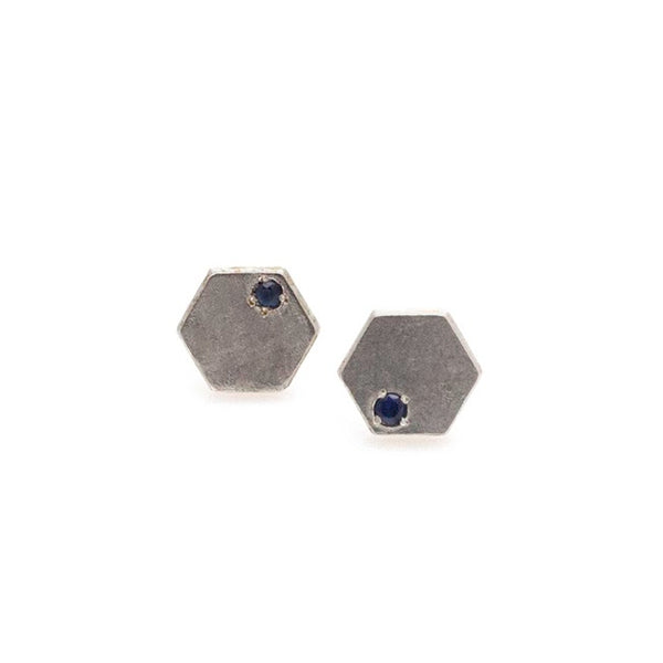 Hexagon Stone Earrings- Silver