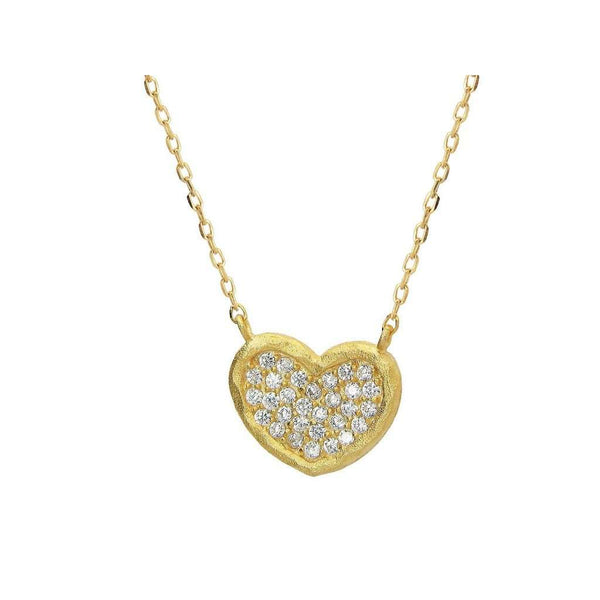 "Sparkling Cubic Zirconia Hammered Heart Pendant Necklace in Vermeil, 15 + 2"" Extender"