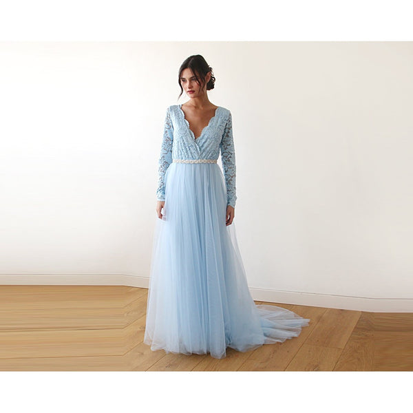 Light Blue Tulle and Lace Long Sleeve Wedding Train Gown 1164