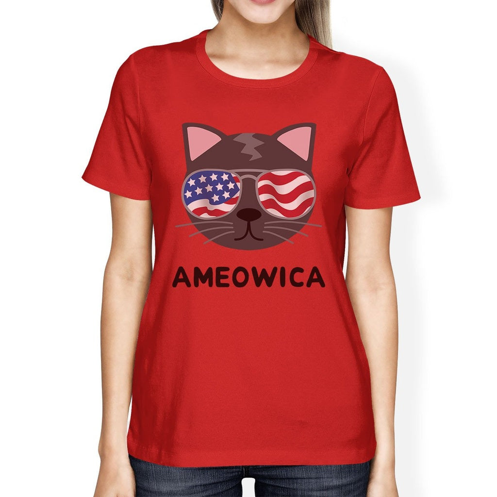 Ameowica Womens Funny Fourth Of July T-Shirt Gifts For Cat Owners