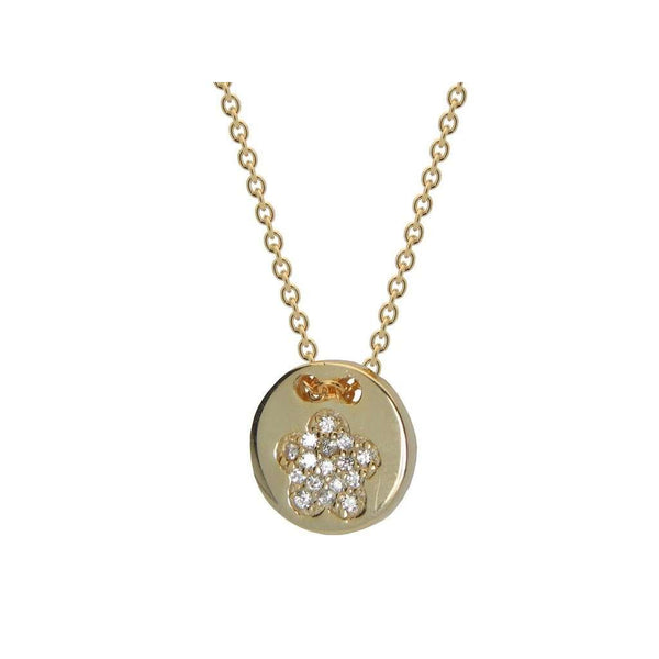 "Silver Gold Plated Cz Flower 10mm Disc 15.5""+ 1.5"" Necklace"