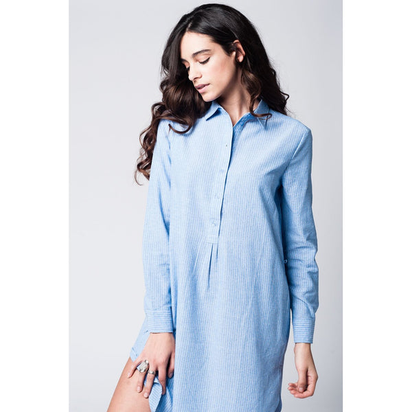 Blue shirt dress with tie front detail in fine stripe