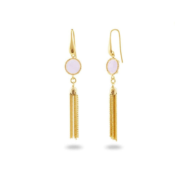 Rose Crystal Gold Tassel Earrings in Sterling Silver