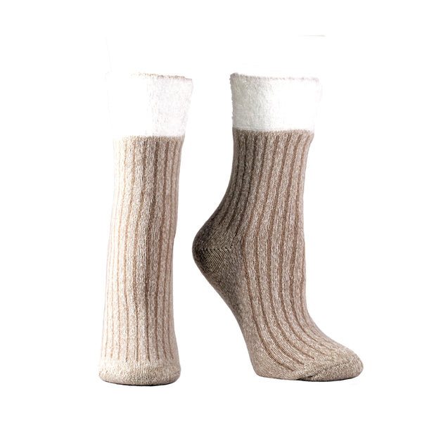 Women's Double Layer Corduroy Non-Skid Lavender and Shea Butter Infused Slipper Socks Gift