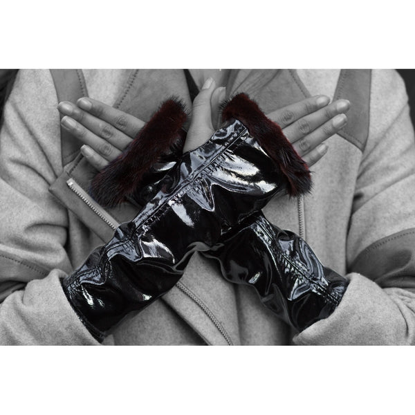 Black Patent Leather Knuckle Duster Gloves