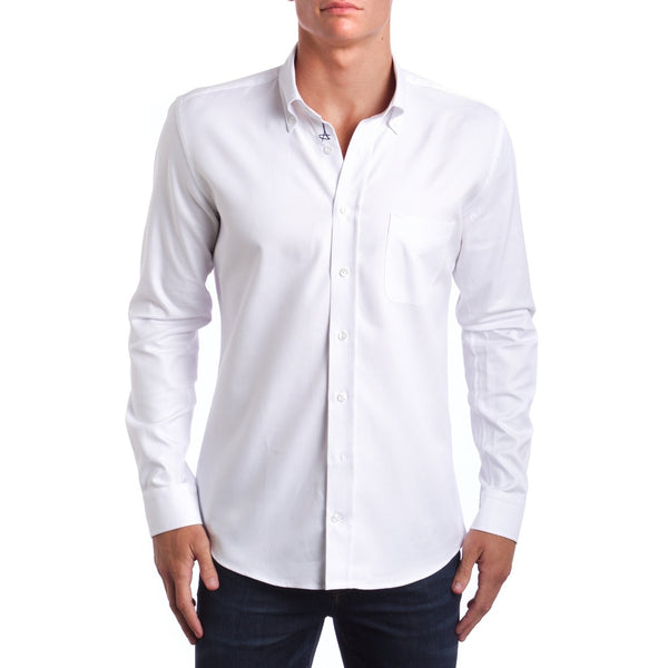 Casual White Slim Fit Dress Shirt