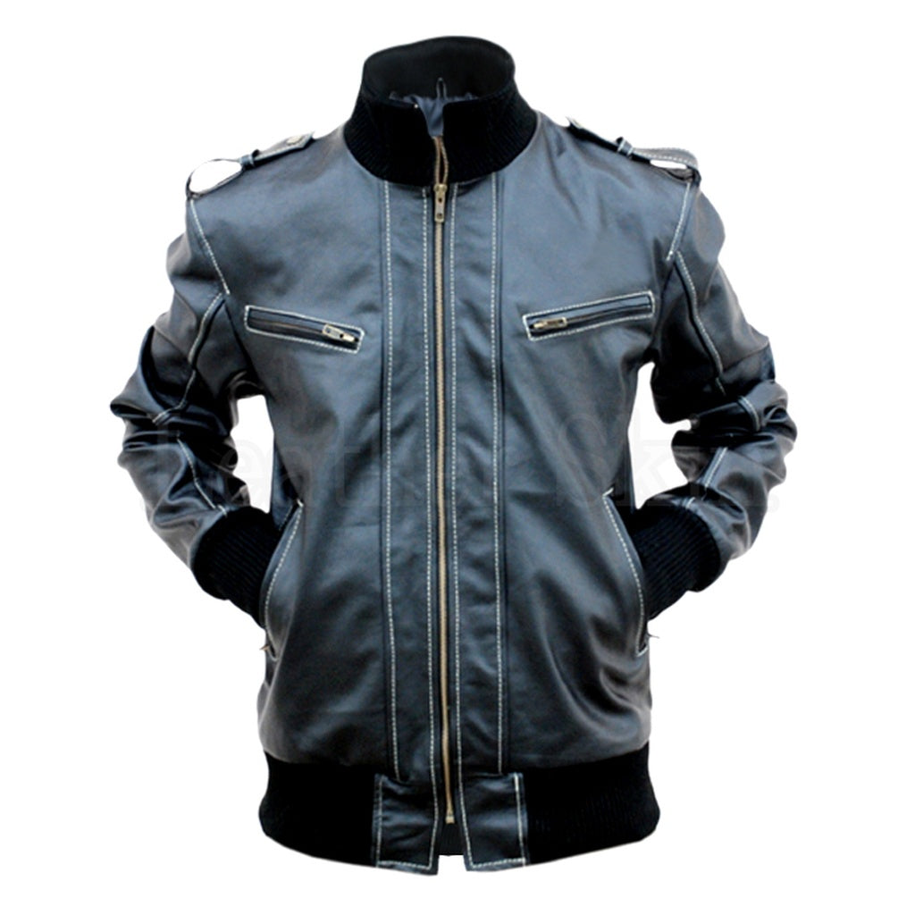 Black Quilted Lining Leather Jacket