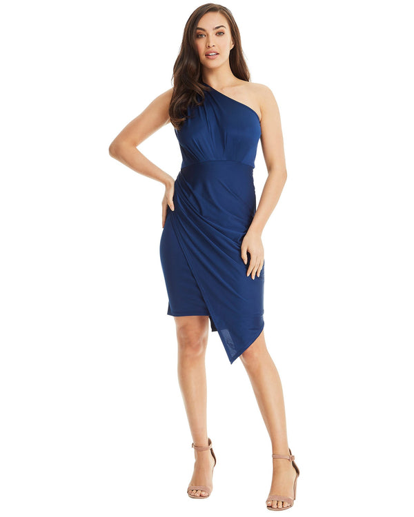 One Shoulder Asymmetrical Dress - Dark Blue