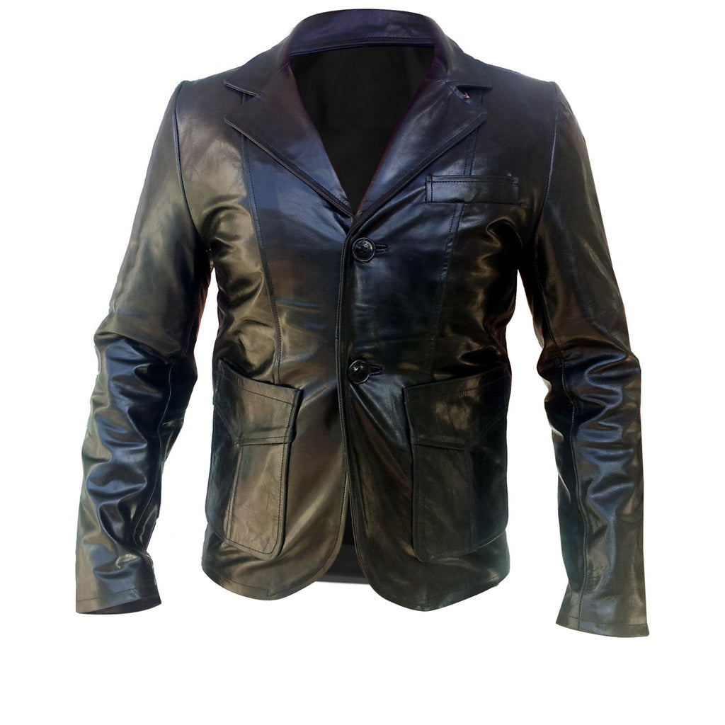 Black Men Genuine Leather Coat