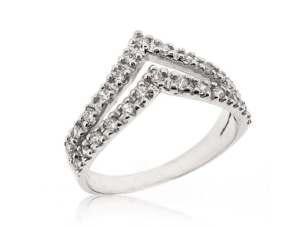 DOUBLE CZ CHEVRON RING