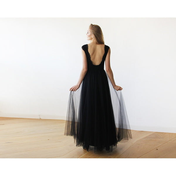 Black Tulle and Lace Sleeveless Maxi Gown 1145 - www.ettuet.com