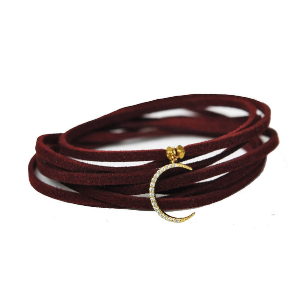 Crescent Moon Burgundy Suede Choker