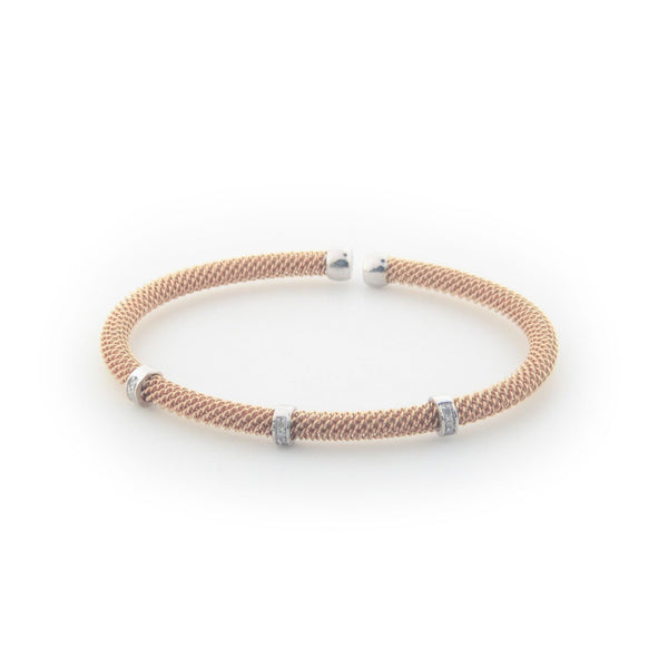 .925 Sterling Silver Diamond Bangle Mesh Bracelet dipped in Rose Gold ( 0.10 cttw)