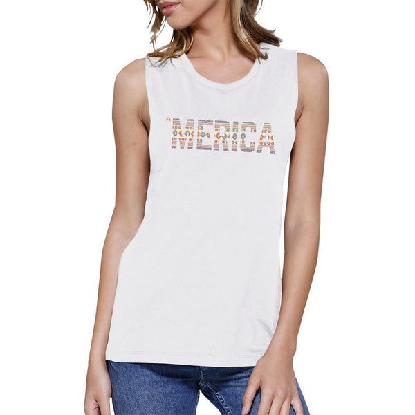 'Merica Womens White Muscle Top Cute Tribal Pattern Design Tee
