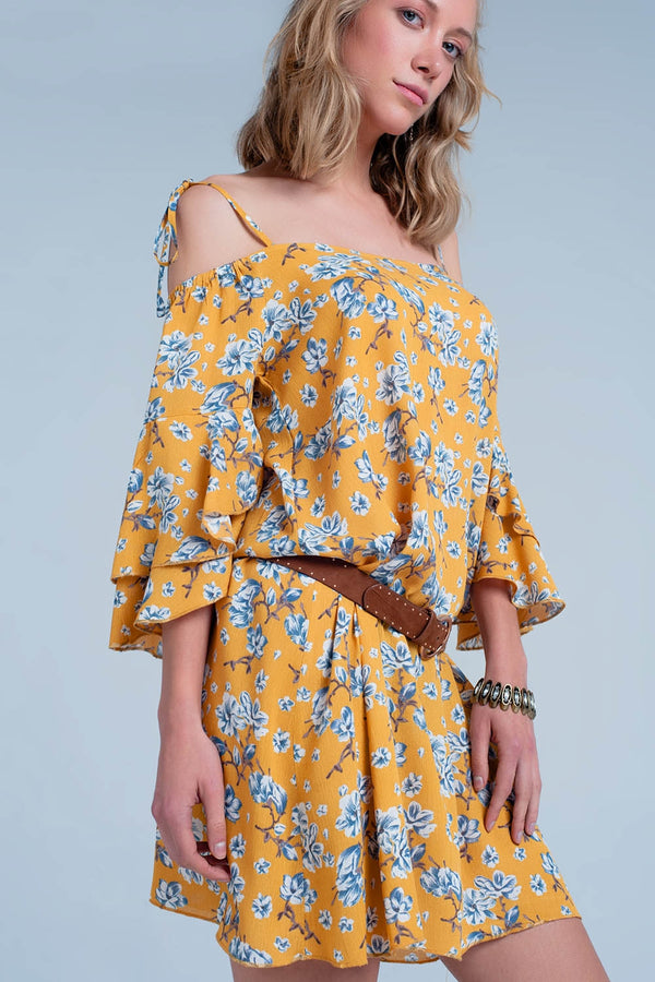 Yellow mini dress with flower print