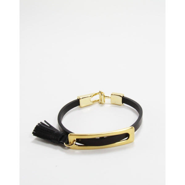 Pelle Leather Tassel Bracelet 18k Gold Plate