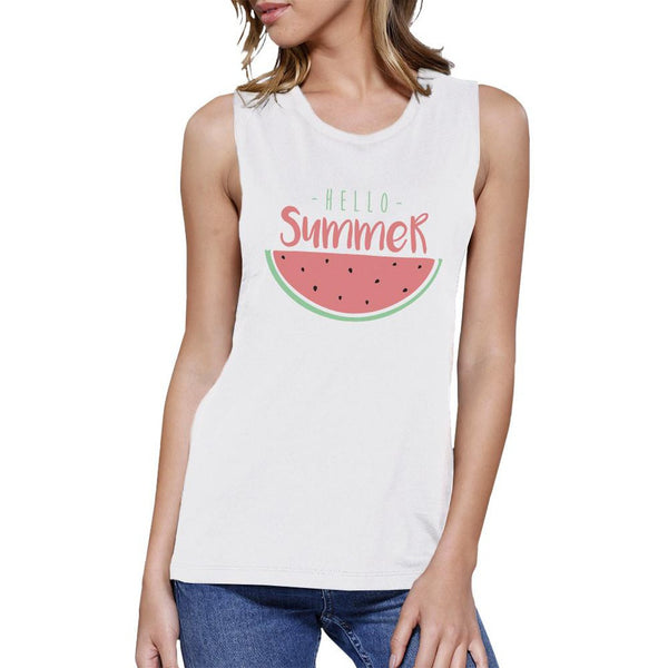 Hello Summer Watermelon Womens White Muscle Top