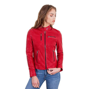 Women's Leather Jacket genuine soft leather biker korean collar red color Giulia