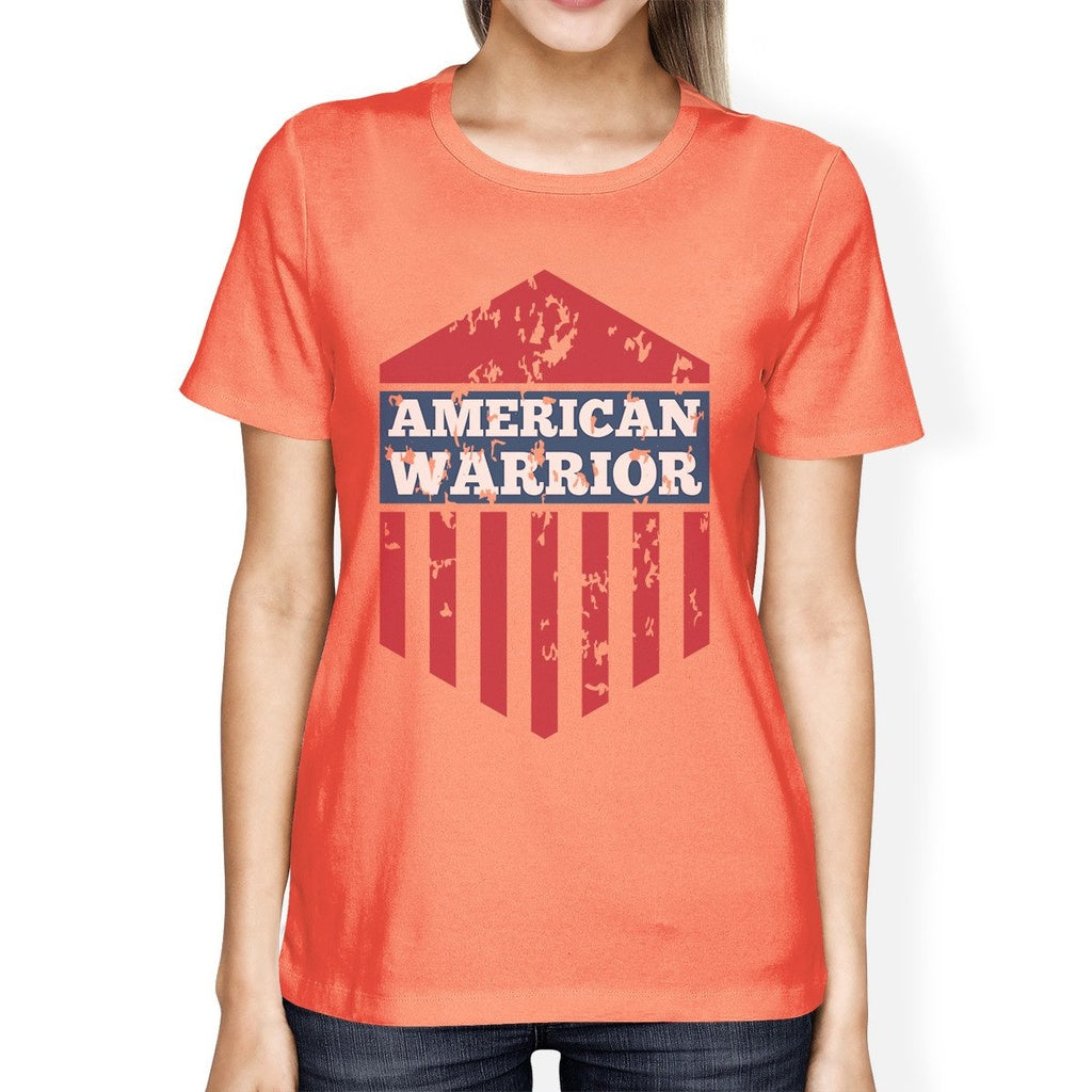 American Warrior Tee Womens Peach Short Sleeve T-Shirt Gift For Her