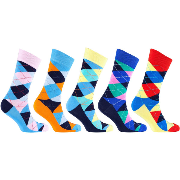 Men'S 5-Pair Funky Argyle Socks-3003