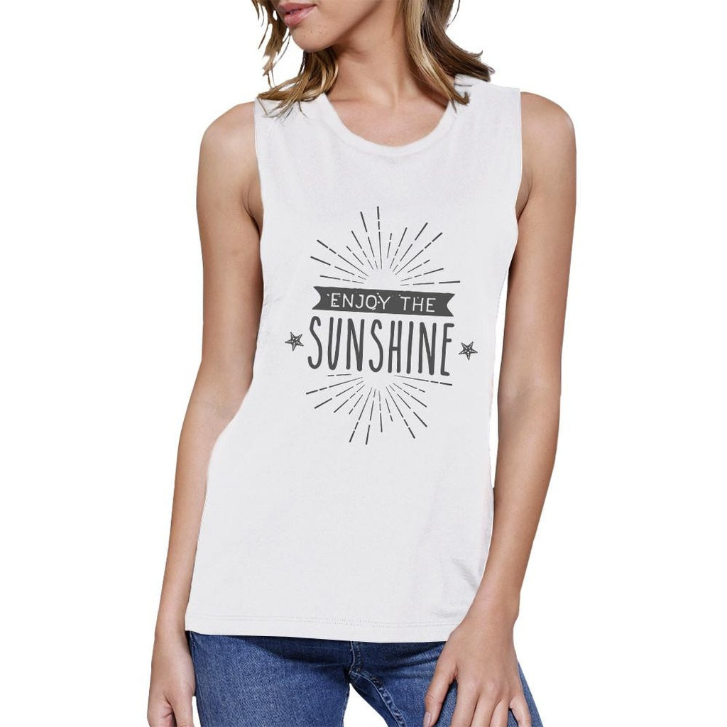 Enjoy The Sunshine Womens White Muscle Top