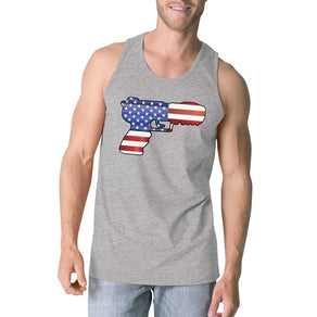 American Flag Pistol Mens Tank Top Unique Gift For Gun Supporters