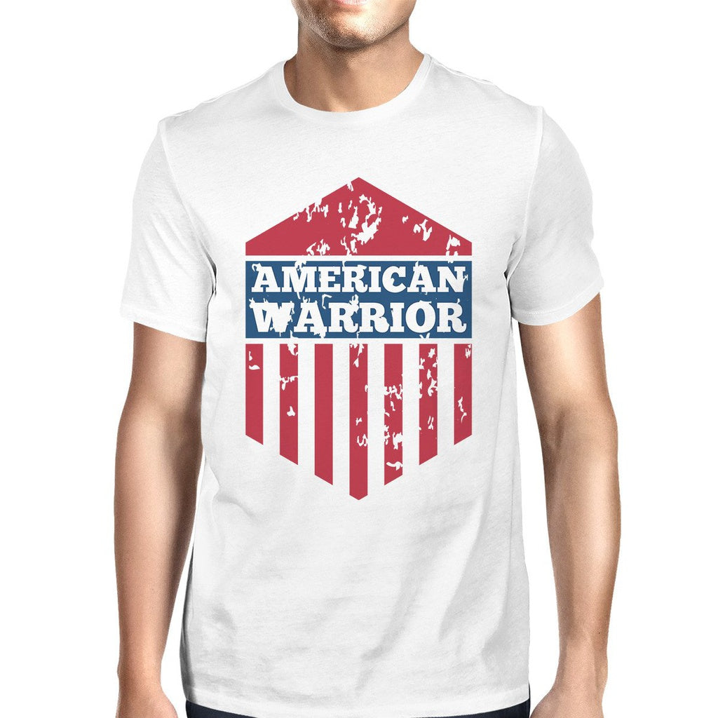 American Warrior Tee Mens White Cotton Tshirt American Flag Shirt