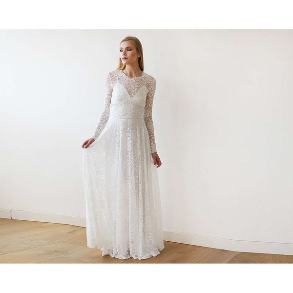 Round Neckline Bridal Lace Dress With Long Sleeves 1147 - www.ettuet.com