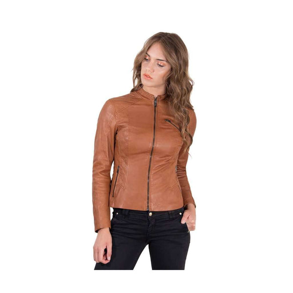 Women's quilted Leather Jacket biker tan color Geny