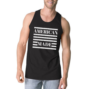 American Made Mens Black Sleeveless Shirt Unique Design Tank Top