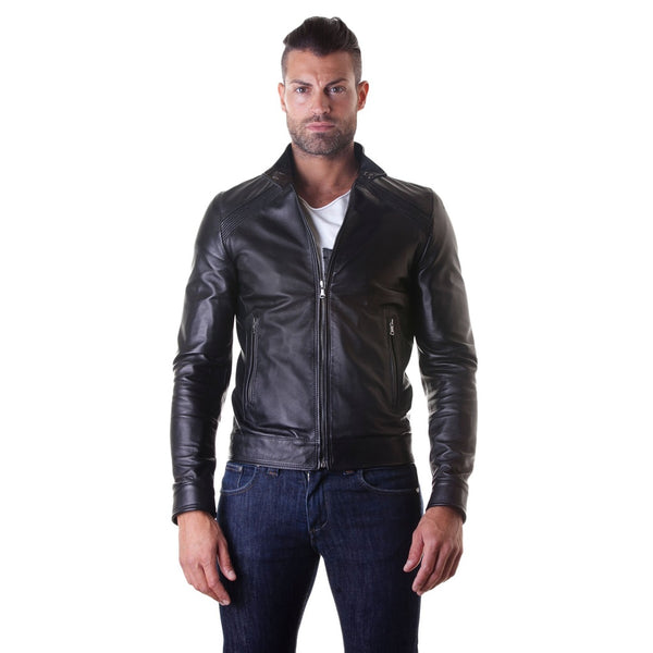 Leather Jacket with quilt on shoulder and central zip black color mod.Emy