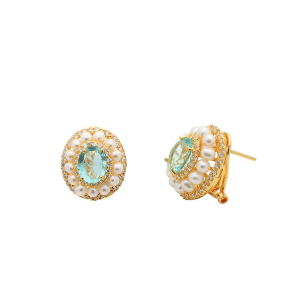 Pearls & Lab Paraiba Golden Omega Earrings