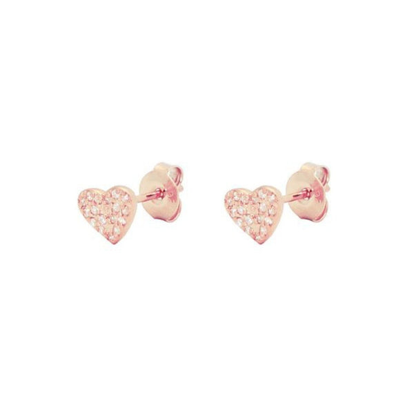 Pave Cz Heart Stud Earrings in Rose Gold Plated Silver