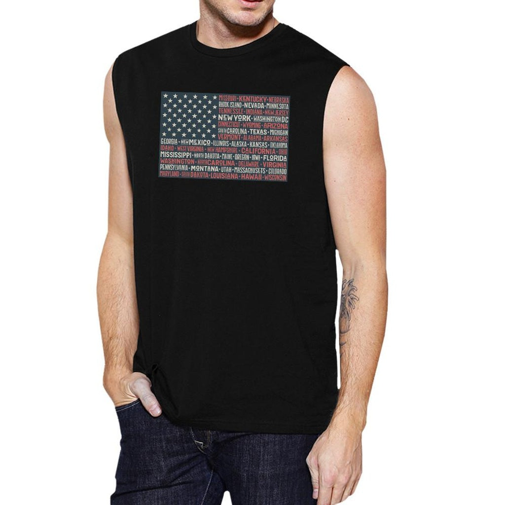 50 States Us Flag Mens Black Muscle Top Cap Sleeve For 4th Of July