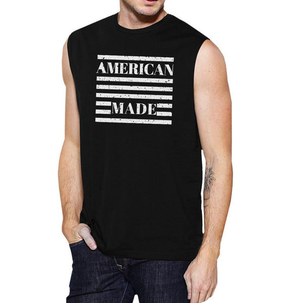 American Made Funny Mens Black Muscle Top For Independence Day