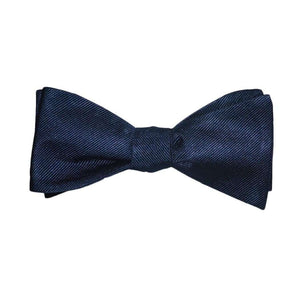 Solid Color Bow Tie - Navy, Woven Silk, Adult