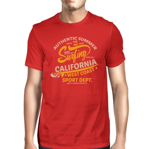 Authentic Summer Surfing California Mens Red Shirt